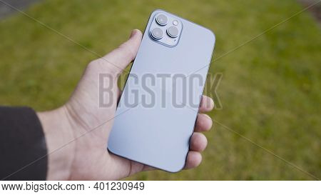 Moscow, Russia-november, 2020: Close-up Of New Iphone In Your Hand. Action. Man Holds Luxury Iphone