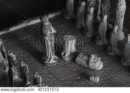 A Portrait Of The Black King In A Game Of Chess Who Came Out Victorious By Slaying The Other King. T