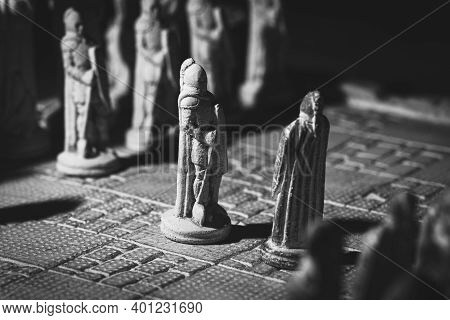 A Black And White Portrait Of Two Soldier Pawns Of A Game Of Chess Facing Each Other In The Beginnin