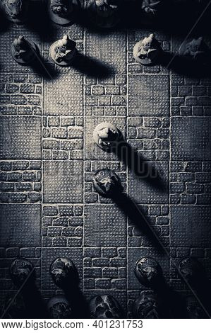 A Vertical Top Down Portrait Of The Beginning Of A Duel Of Chess. The Chessboard And The Pieces Are