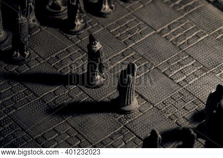 A Portrait Of Two Soldier Pieces Of A Game Of Chess Facing Each Other In The Beginning Of The Strate