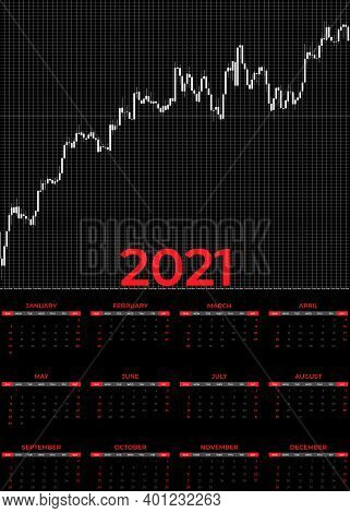 2021 Calendar Forex. Elegant Design With A Growing Japanese Candlestick Chart Representing The Path