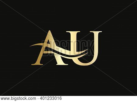 Initial Au Letter Linked Logo Vector Template. Swoosh Letter Au Logo Design. A U Logo Design With Mo