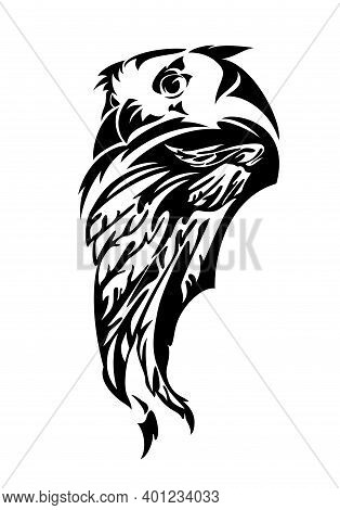 Wild Eagle Owl Bird Head And Feathered Wing Simple Black And White Vector Outline Design