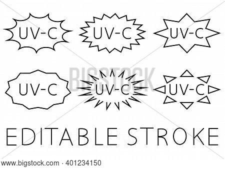 Uv Sterilization Stamp. Sanitation Device Information Sign. Badge Set Of Ultraviolet Sterilization.