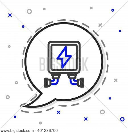 Line Electric Transformer Icon Isolated On White Background. Colorful Outline Concept. Vector Illust