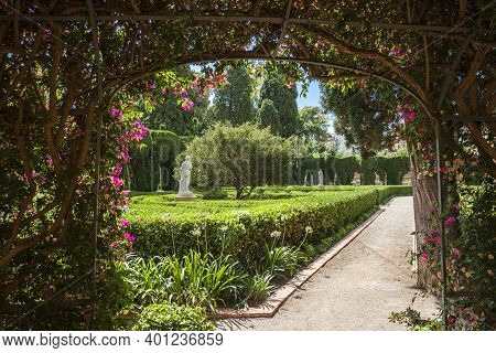 Valencia, Spain 07-20-2019:monforte Garden - Jardines De Monforte. A Neoclassic Design Full Of Statu