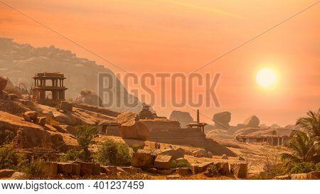 Hampi, India on December 31, 2018 :World heritage site historic Vijaya Vittala temple and Hampi ruins in India