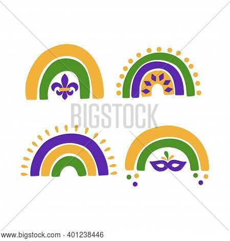Mardi Gras Traditional Carnival. Fat Tuesday Holiday Vector Illustration. Traditional Symbol Fleur D
