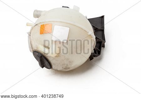 Coolant Expansion Tank White On An Isolated Background With Black Details. A Unit Of A Liquid Coolin