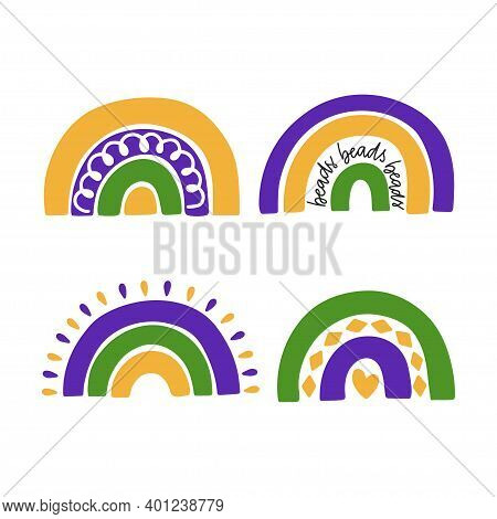 Mardi Gras Traditional Carnival. New Orleans Festival. Fat Tuesday Holiday Vector Illustration. Hand