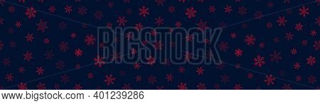 Vector Seamless Pattern With Small Red Snowflakes On Black. Christmas And New Year Background. Snowf