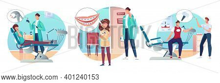 Dentistry Compositions Set With Flat Human Characters Of Adult Patients Kids And Dental Surgeons In