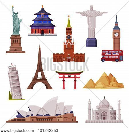 Travel Time With City Landmark Like Eiffel Tower And Statue Of Liberty Vector Set