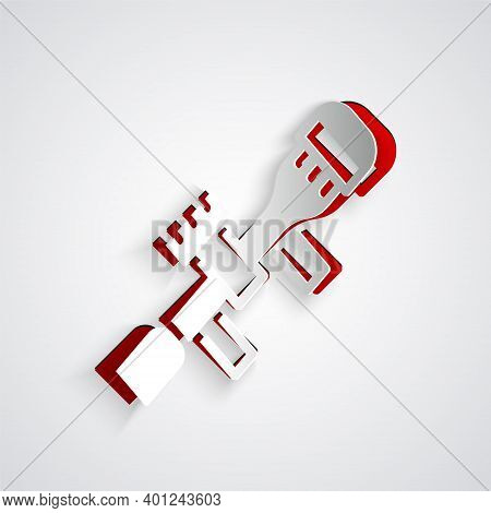 Paper Cut Sniper Optical Sight Icon Isolated On Grey Background. Sniper Scope Crosshairs. Paper Art