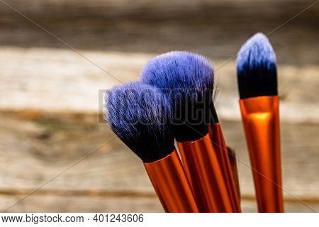 Make-up Concept. Make-up Brushes.  Concelear Brush, Foundation Brush, Blush Brush And Powder Brush.