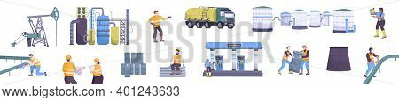 Oil Industry Set With Oil Refinery Symbols Flat Isolated Vector Illustration