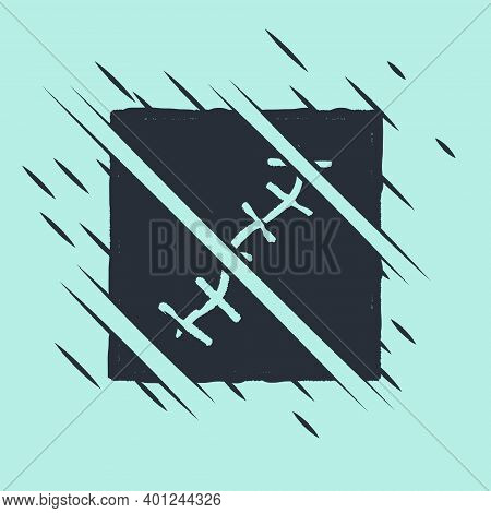 Black Scar With Suture Icon Isolated On Green Background. Glitch Style. Vector