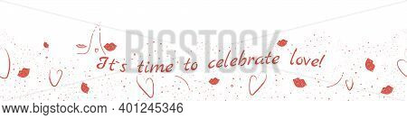 St. Valentine Day Hand Drawn Raster Background. Lovely Decorative Illustration With Hearts And Plump