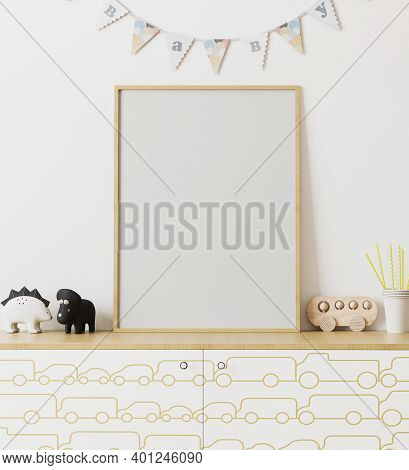 Blank Wooden Poster Frame Mockup In Children's Room Interior With White Wall And Garland Flags Baby,
