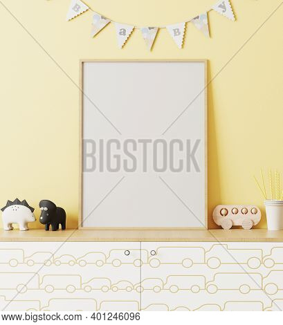 Blank Wooden Poster Frame Mockup In Children's Room Interior With Yellow Wall And Garland Flags Baby
