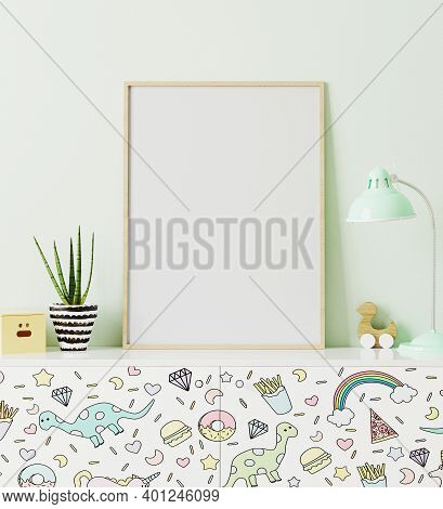 Poster Frame Mockup In Children's Room Standing Of Chest Of Drawers With Funny Kids Print, With Ligh