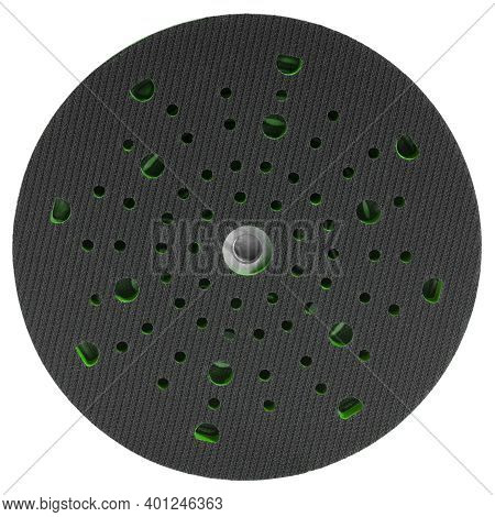 Hook And Loop Sandpaper Disk Fixture Isolated In White Back