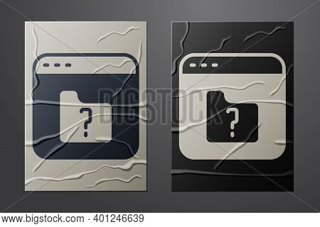 White File Missing Icon Isolated On Crumpled Paper Background. Paper Art Style. Vector