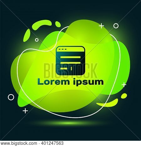Black Browser Window Icon Isolated On Black Background. Abstract Banner With Liquid Shapes. Vector