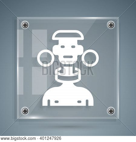 White African Tribe Male Icon Isolated On Grey Background. Square Glass Panels. Vector