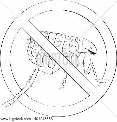 Stop Fleas Sign Black Line Symbol. Monochrome Vector Illustration. No More Bloodsucking Bugs Icon Is