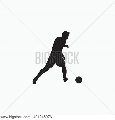 Left Footed Fast Dribbling - Silhouette Illustration - Shot, Dribble, Celebration And Move In Soccer
