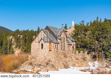 Allenspark, Colorado - November 29, 2020: Saint Catherine Of Siena Chapel, Also Known As The Chapel