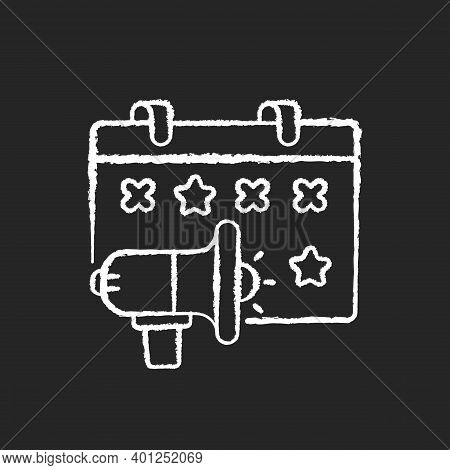 Event Marketing Chalk White Icon On Black Background. Experiential Marketing Of Service Or Product T