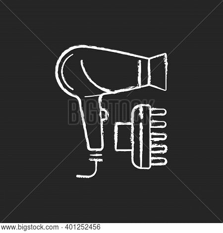 Hair Dryer Chalk White Icon On Black Background. Drying And Styling Hair. Hand-held Electric Blower.
