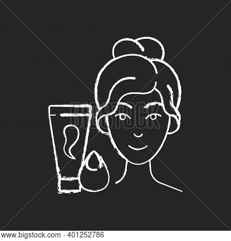 Makeup Sponge Chalk White Icon On Black Background. Foundation, Concealer, Beauty Balms Applying. Te