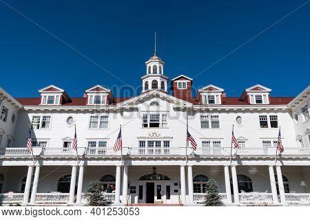 Estes Park, Co - October 31, 2020: Exterior Of The Historic Stanley Hotel Near Rocky Mountain Nation