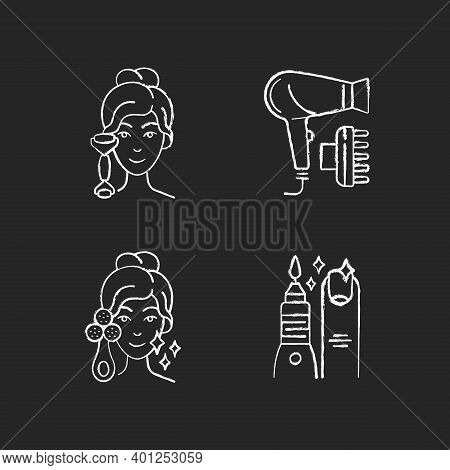 Beauty Tools Chalk White Icons Set On Black Background. Quartz Facial Roller. Hair Dryer. Facial Cle