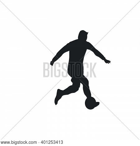 Right Footed Casual Dribbling - Silhouette Illustration - Shot, Dribble, Celebration And Move In Soc