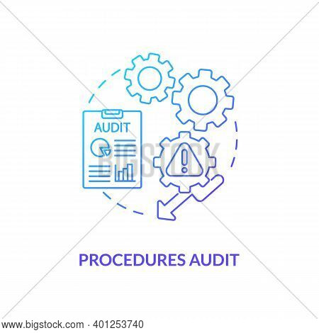 Procedures Audit Concept Icon. Warehouse Audit Elements. Check If Transactions Have Been Saved On Co