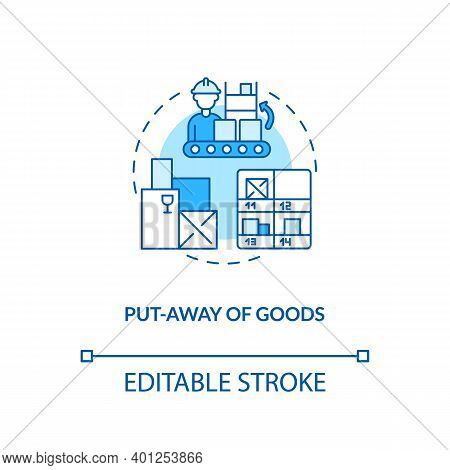 Put Away Of Goods Concept Icon. Warehouse Management Components. Stored Away In Boxes In Warehouse.