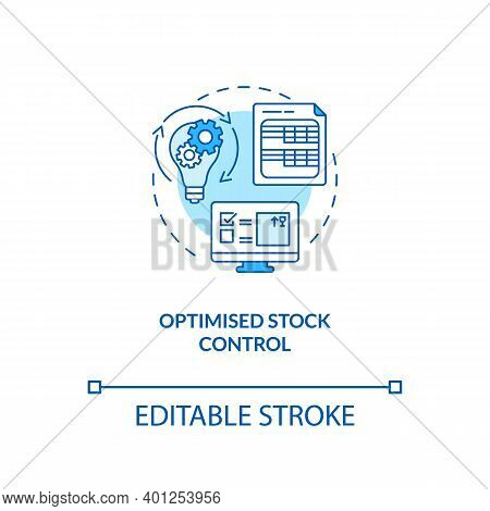 Optimised Stock Control Concept Icon. Warehouse Management Software Benefits. Management Advices. St