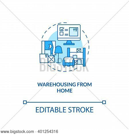 Warehousing From Home Concept Icon. Ecommerce Warehouse Solutions. Managing Products In Own House. C