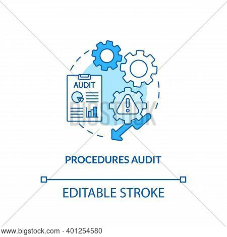Procedures Audit Concept Icon. Warehouse Audit Elements. Check If Transactions Have Been Saved. Busi