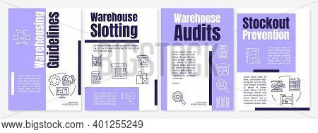 Warehousing Guidelines Purple Brochure Template. Stockout Prevention. Flyer, Booklet, Leaflet Print,