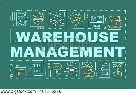 Warehouse Management Word Concepts Banner. Storehouse Organization. Storage Service. Infographics Wi