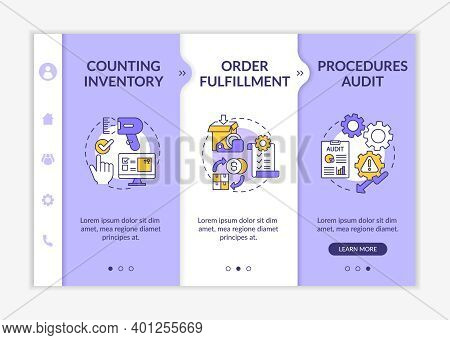 Storehouse Procedures Audit Onboarding Vector Template. Warehouse Management. Order Fulfillment. Res