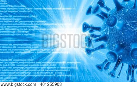 Digital Crime Threat, 3d Created Computer Virus. Digital Threat On The Internet Concepted