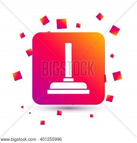 White Rubber Plunger With Wooden Handle For Pipe Cleaning Icon Isolated On White Background. Toilet