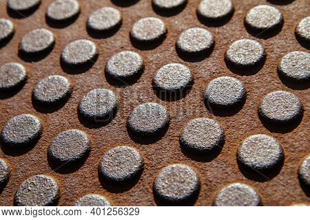 A Detail Of The Many Rivets On An Industrial Construction. Or Of A Texture Which Simulates The Rivet